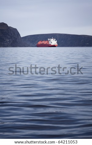 LNG ship in the norwegian fjords - stock photo