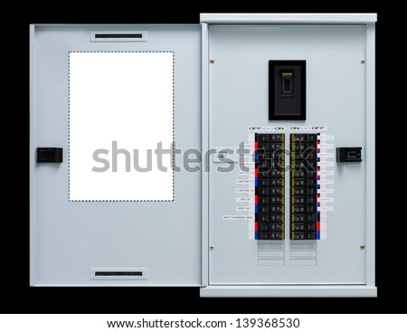 Load center, Electric switch with black background - stock photo