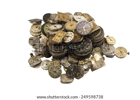 Load of various antique  watches on white background - stock photo