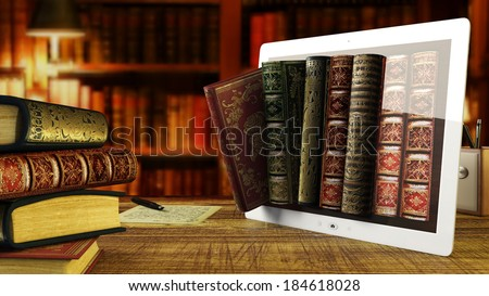 load old books in a digital library - stock photo
