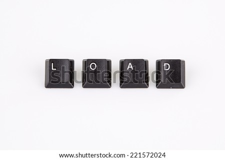 load word written with black computer buttons on white background