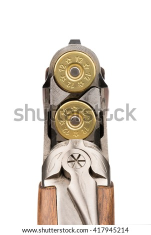 Loaded rifle. Macro. Double-barreled with bullets. Isolated on white - stock photo