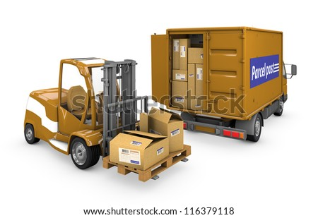 Loader and a minivan carrying a parcel on a white background with clipping path. - stock photo