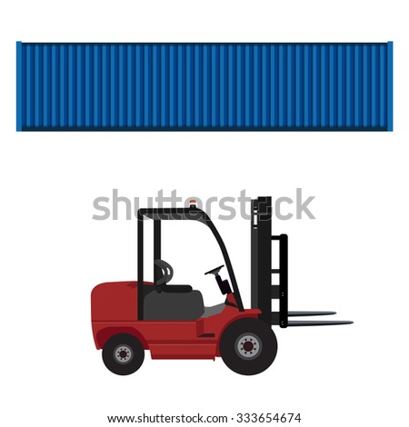 Loader car for carton box delivering and  blue cargo container raster illustration. Delivery service. Delivery icon set - stock photo