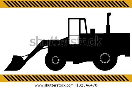 Loader excavator construction machinery equipment isolated - stock photo