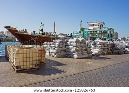 Loading a ship in Port Said  in Dubai, UAE.