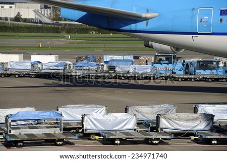 Loading an airplane with airfreight at an airport