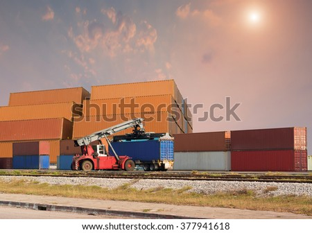 Loading and unloading of containers in the port industrial , Trade Port , Shipping , transport