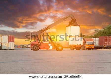Loading and unloading of containers in the port industrial , Trade Port , Shipping , transport - stock photo