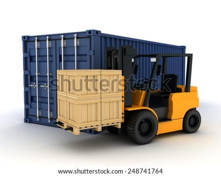 Loading blue cargo Container (done in 3d) - stock photo