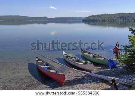 Loading Canoes for Adventure in Shoshone Lake in Yellowstone National Park in Wyoming