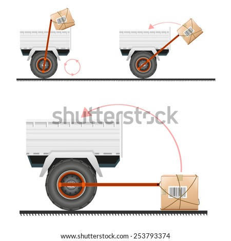 Loading cargo in the truck with the help of wheels illustration - stock photo