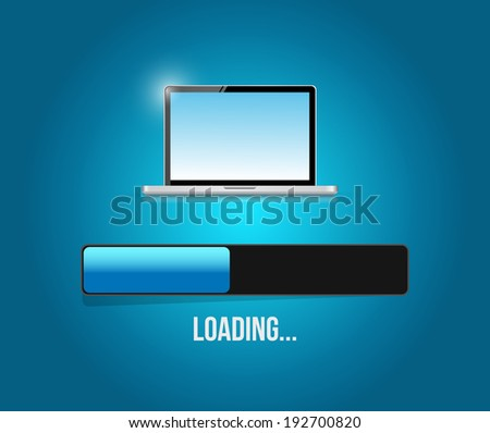 loading computer updates illustration design over a blue background - stock photo