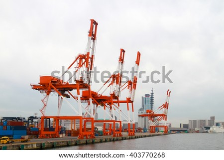 Loading docks at the port - stock photo