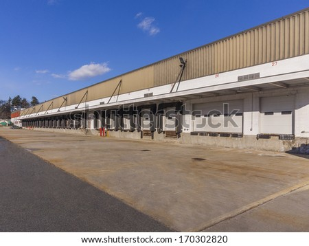 loading docks outside of a manufacturing facility
