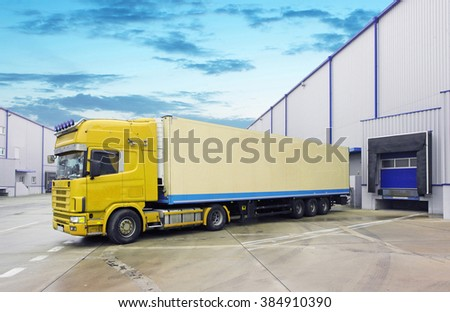 Loading docks with truck - stock photo