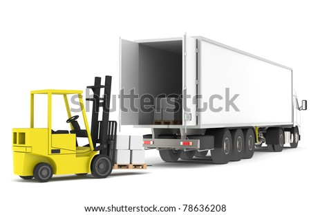 Loading the Truck. Forklift loading a Trailer.  Part of a Blue and yellow Warehouse and logistics series. - stock photo