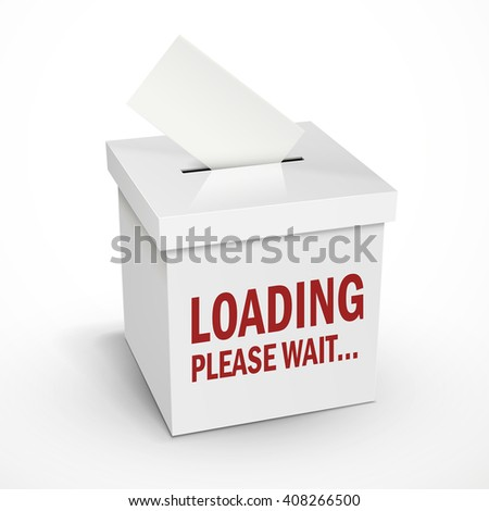 loading word on the 3d illustration white voting box isolated on white background - stock photo