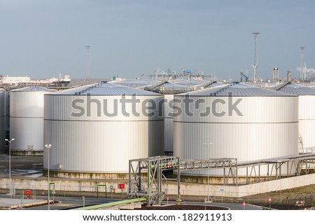 Loads of Oil Storage Tanks in Harbour Area