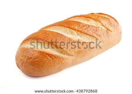 Loaf bread isolated on white - stock photo