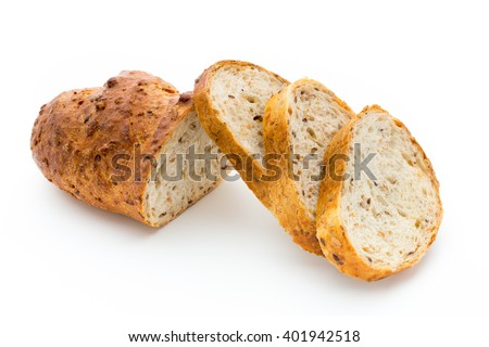 Loaf of bread isolated on white. - stock photo