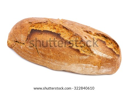 Loaf of bread isolated on white background. - stock photo