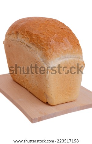 loaf of bread on cutting board isolated on white background