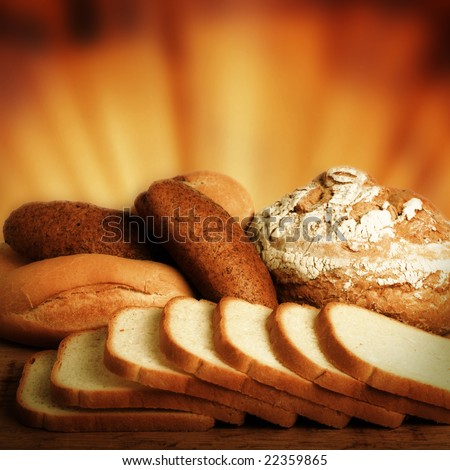 Loaf of bread over background. - stock photo