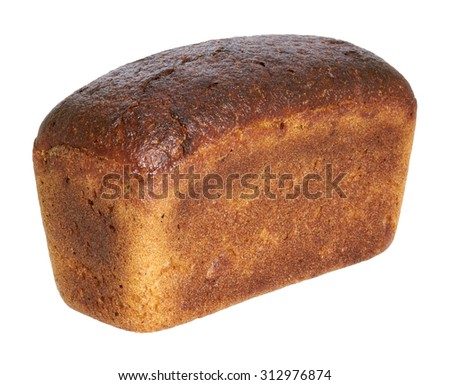 loaf of brown bread on a white background - stock photo