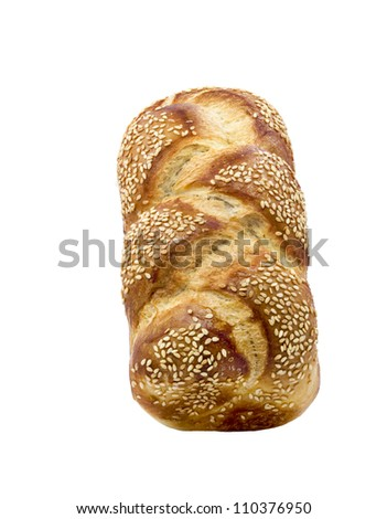 Loaf of challah bread isolated on white background - stock photo