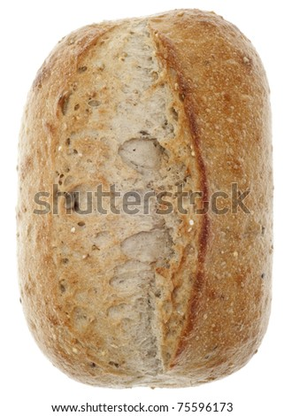 Loaf of Crusty Whole Wheat Bread Isolated on White with a Clipping Path.
