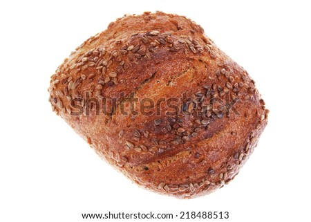 loaf of french rye bread topped with sunflower seeds isolated over white background