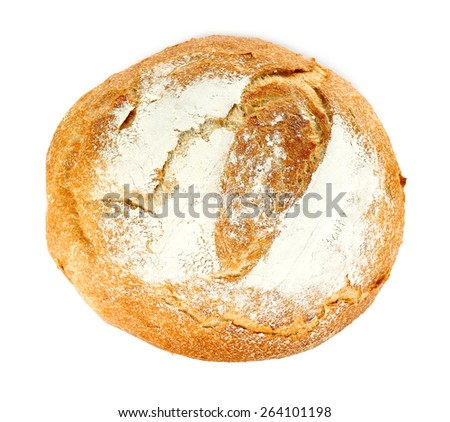 Loaf of fresh bread isolated on white - stock photo