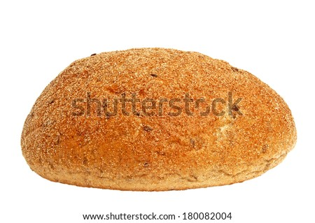Loaf of  rye homemade bread isolated on white background
