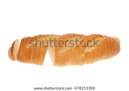 Loaf of sliced French bread isolated on white