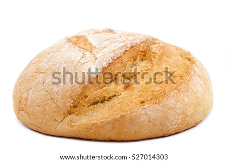 Loaf of wheat bread isolated on white background.