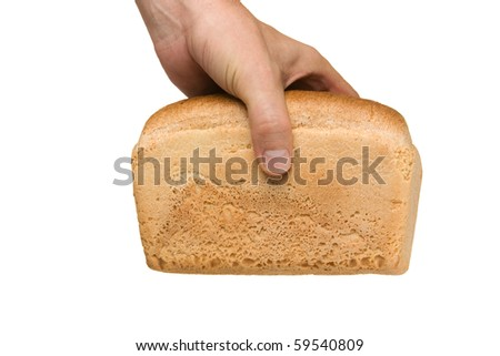 loaf of white bread in hand isolated on white background