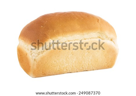 Loaf of white bread isolated on a white background. - stock photo