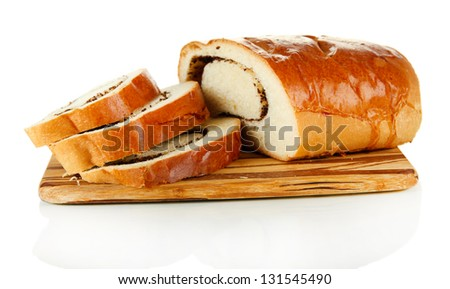 Loaf with poppy seeds on cutting board, isolated on white
