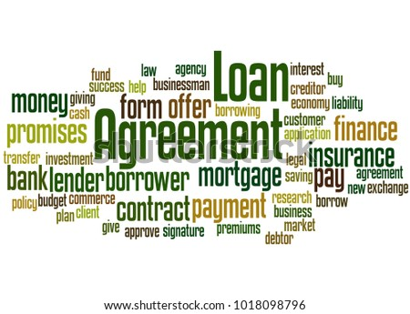 Loan Agreement Word Cloud Concept On Stock Illustration 1018098796