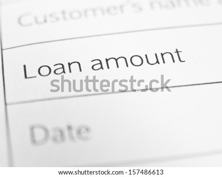 LOAN AMOUNT printed on a form close up