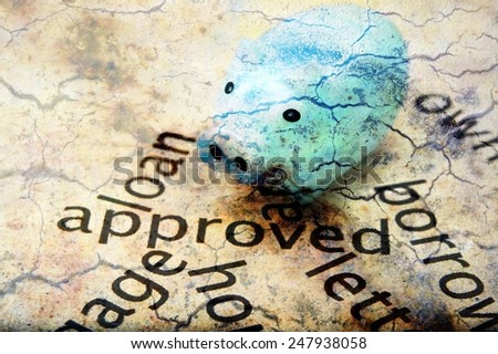 Loan approved and piggy bank - stock photo