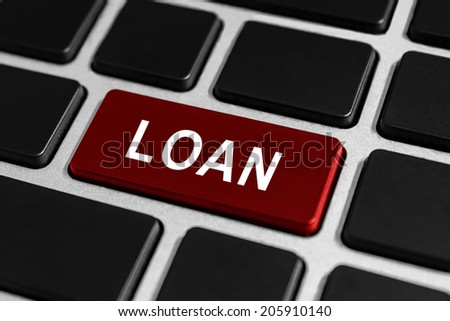 loan funding red button on keyboard, business concept - stock photo