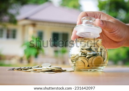 Loan,money coins with home, Saving for buy home concept