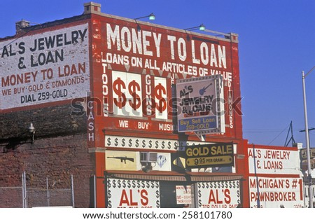Loan Shark building in Detroit, MI