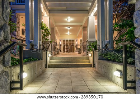 Lobby area, entrance of a townhouses complex, hotel, office. Fragment of the modern lobby, entrance. Interior design. - stock photo