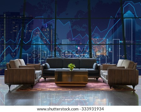 Lobby area of a hotel which can see Trading graph on the cityscape at night and world map background,Business financial concept - stock photo
