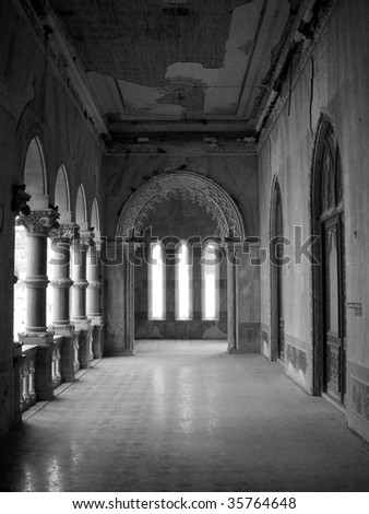lobby entrance of a palace in bhuj, kutch, india - stock photo