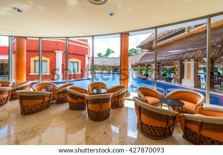 Lobby, gallery, lounge area, restaurant of the  luxury caribbean, tropical hotel, resort. Reception area. Interior design.