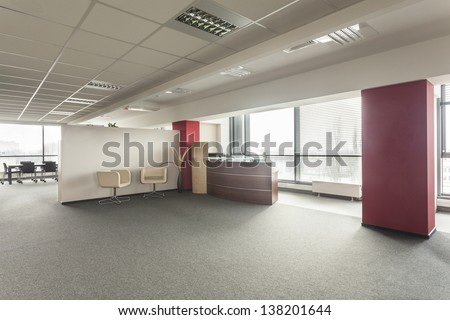 Lobby in a new contemporary and spacious office - stock photo